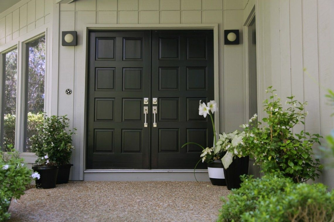 Modern Black Double Front Doors With Black Front Door With Double Intended For Black Front Do Double Front Doors Double Doors Exterior Front Doors With Windows