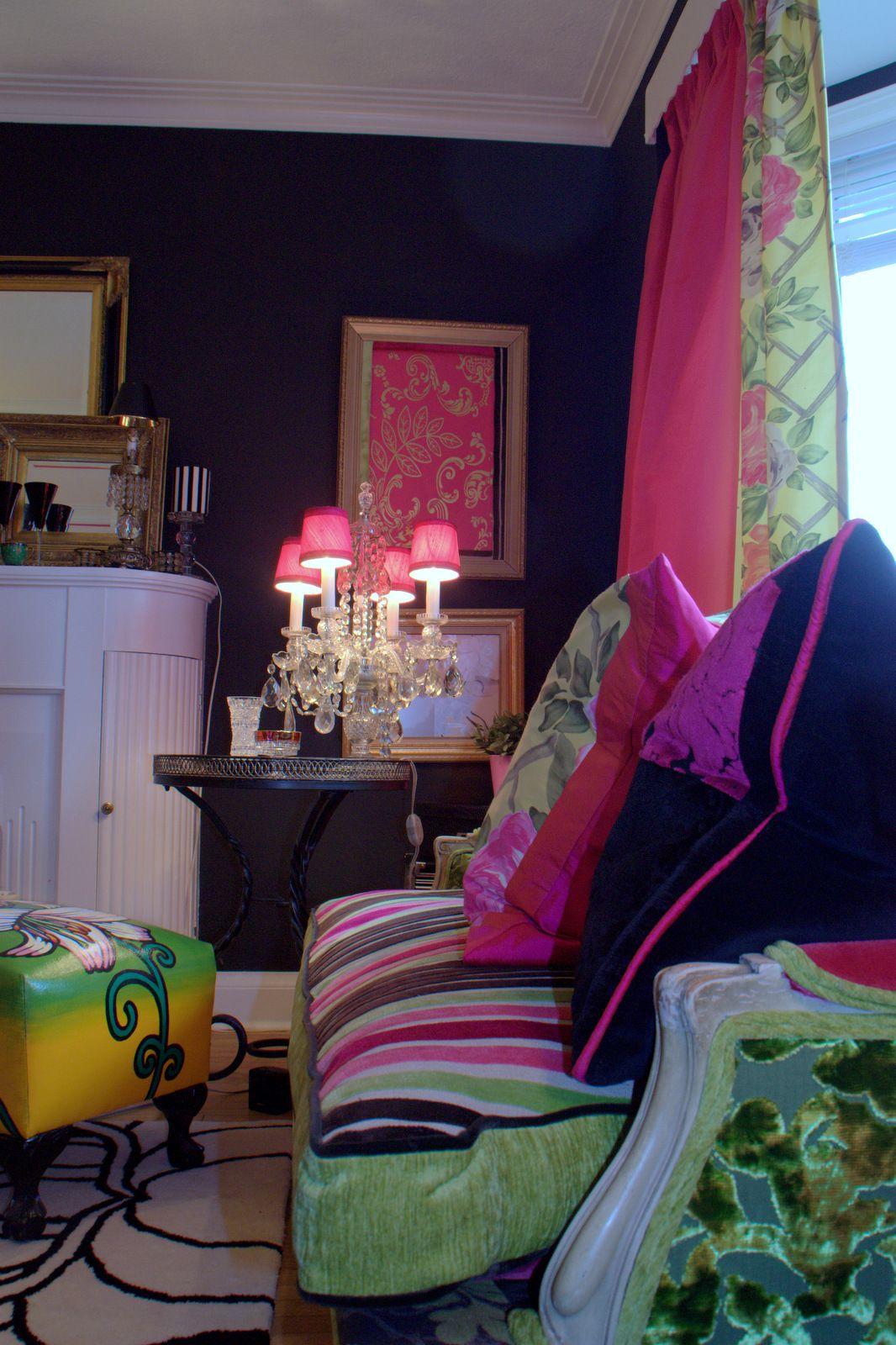 fuschia furniture. My Bohemian Style- I Decorated Home With Black And Fuschia Walls Antique Crystal Lighting, Custom Made Furniture, Drapery Cushions. Furniture