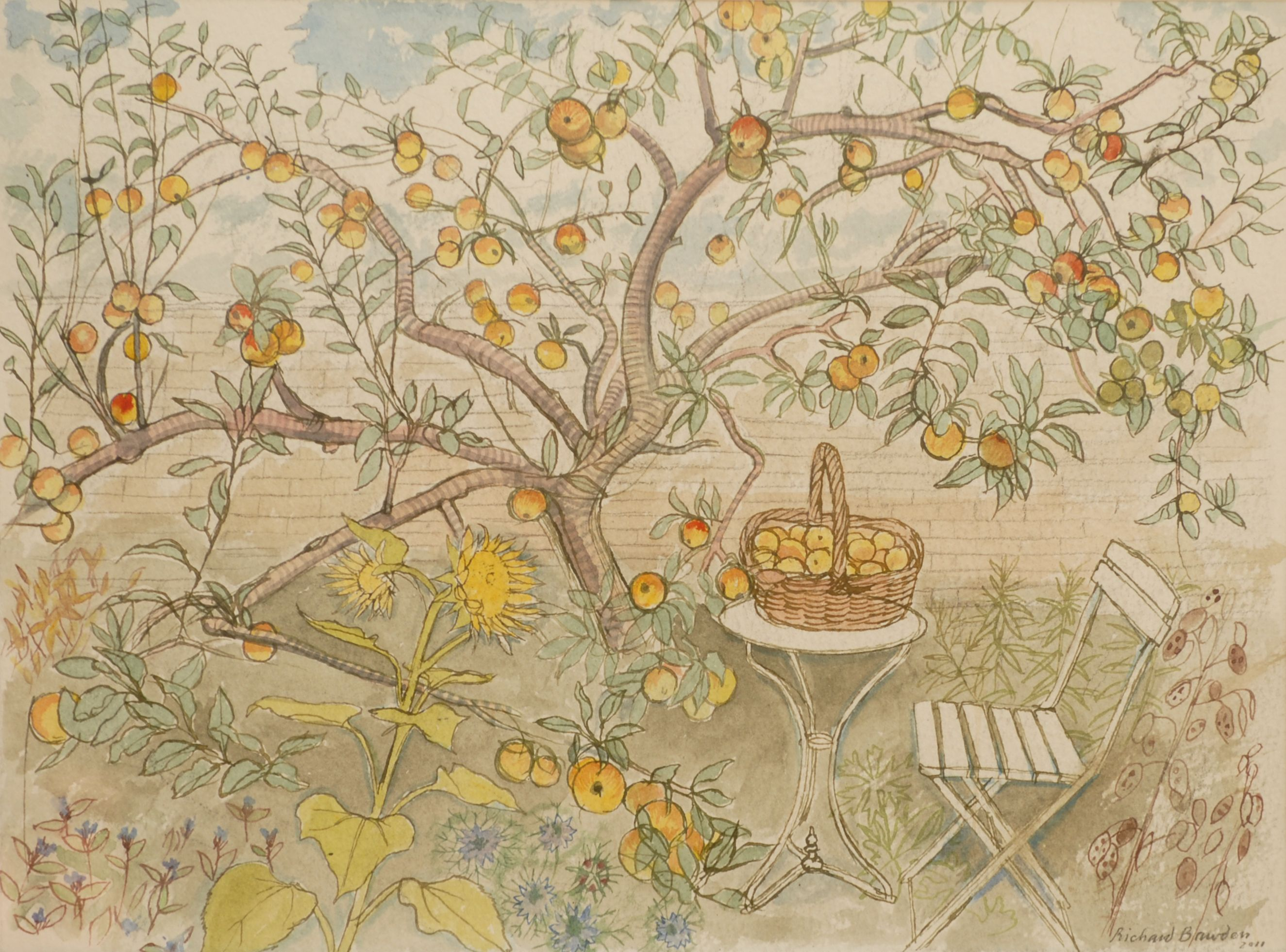 Richard Bawden RE RWS, Apples, Watercolour, POA,  Contact info@banksidegallery.com for further details. See www.banksidegallery.com for other prints and