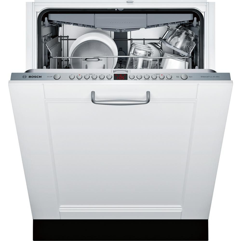 Bosch 800 Series 24 In Custom Panel Ready Ada Top Control Dishwasher With Stainless Steel Tub And 3rd Rack 44dba Sgv68u53uc The Home Depot Built In Dishwasher Integrated Dishwasher Steel Tub