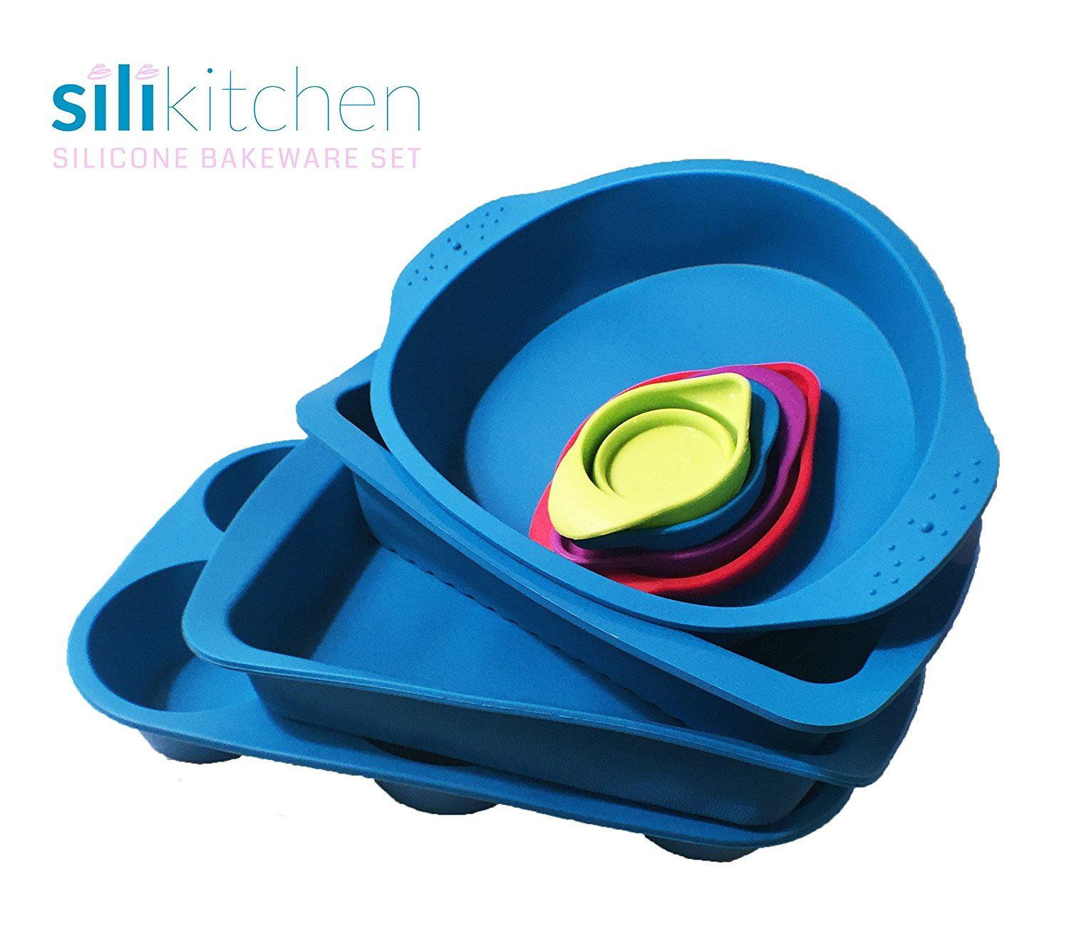 Silikitchen 8 Piece Silicone Bakeware Mold Set Quickly View