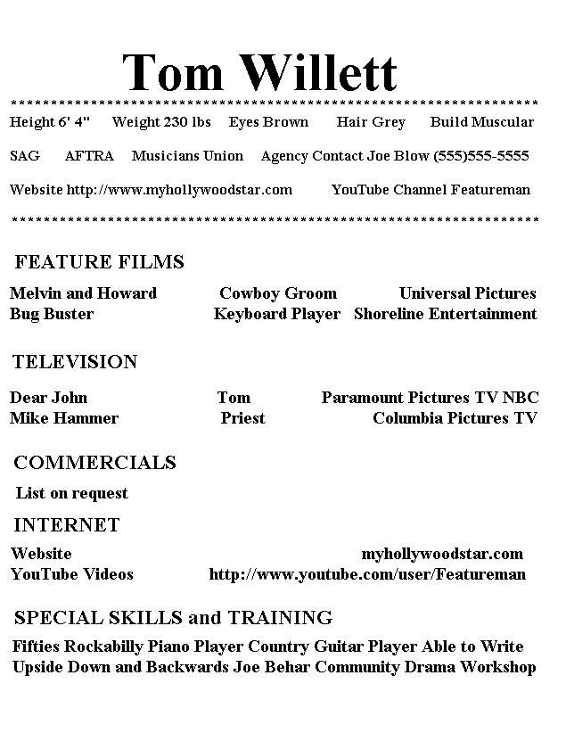 Free Acting Resume Template. Beginner Acting Resume Example Are