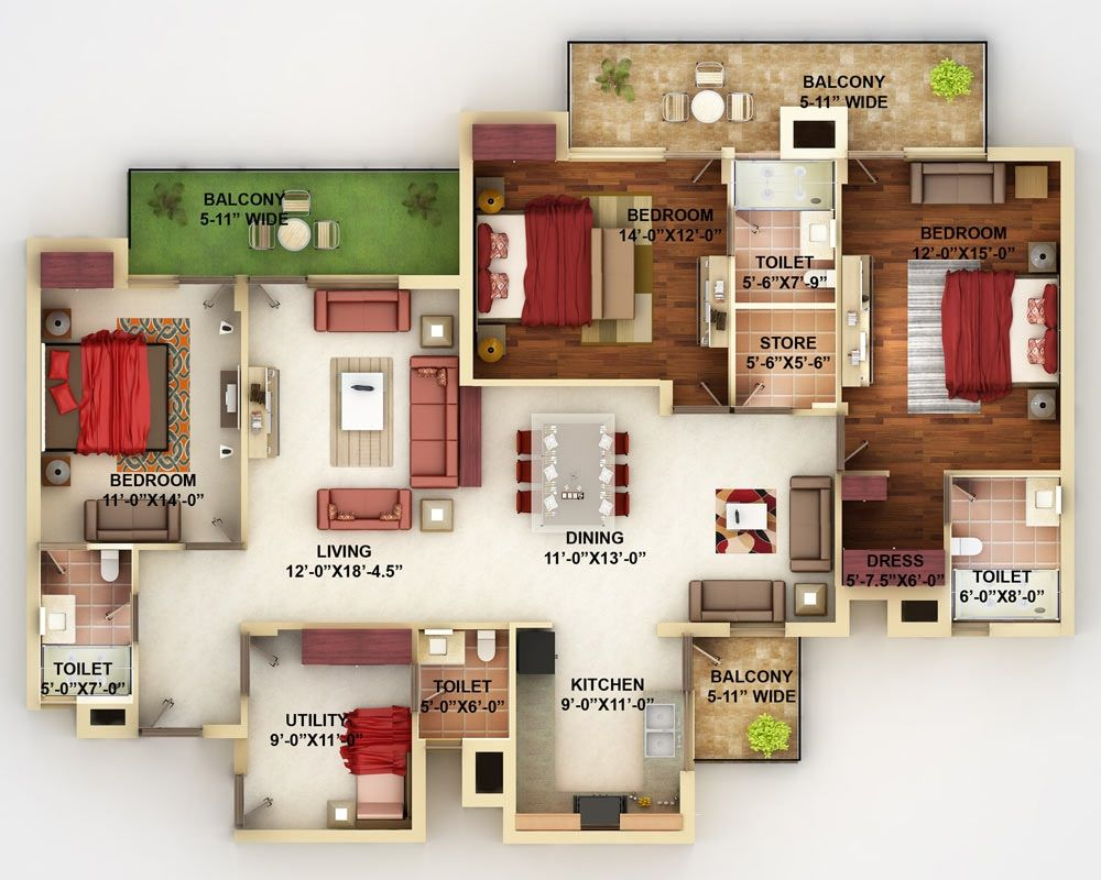 Planos para apartamentos con 4 habitaciones planos casas - Planos de casas 4 dormitorios ...