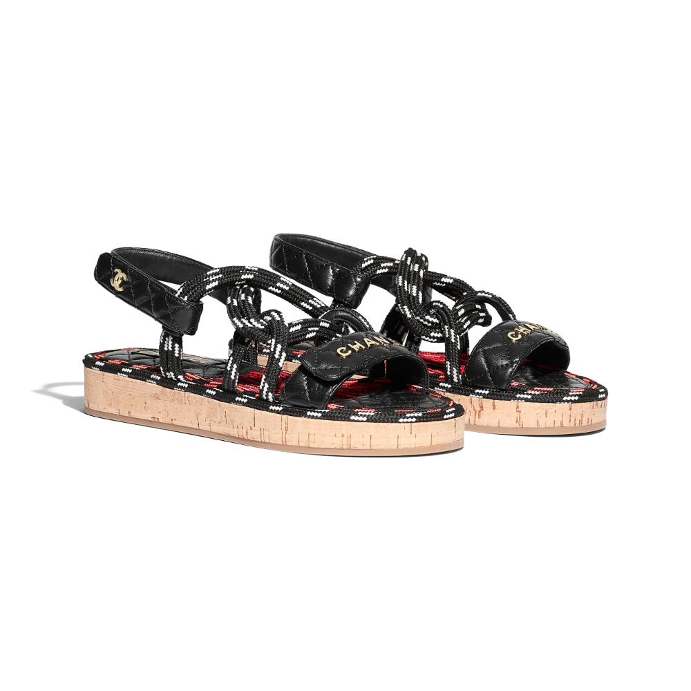 Cord \u0026 Lambskin Black \u0026 White Sandals
