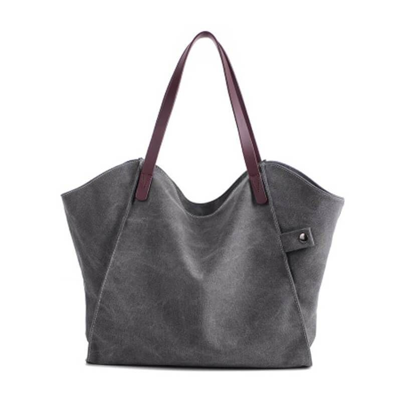 Canvas And Leather Per Bag Gray Tote 1205 In 2019