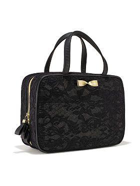 Black Lace Travel Case Cos Bags Victoria Secret Secrets Toiletry Bag