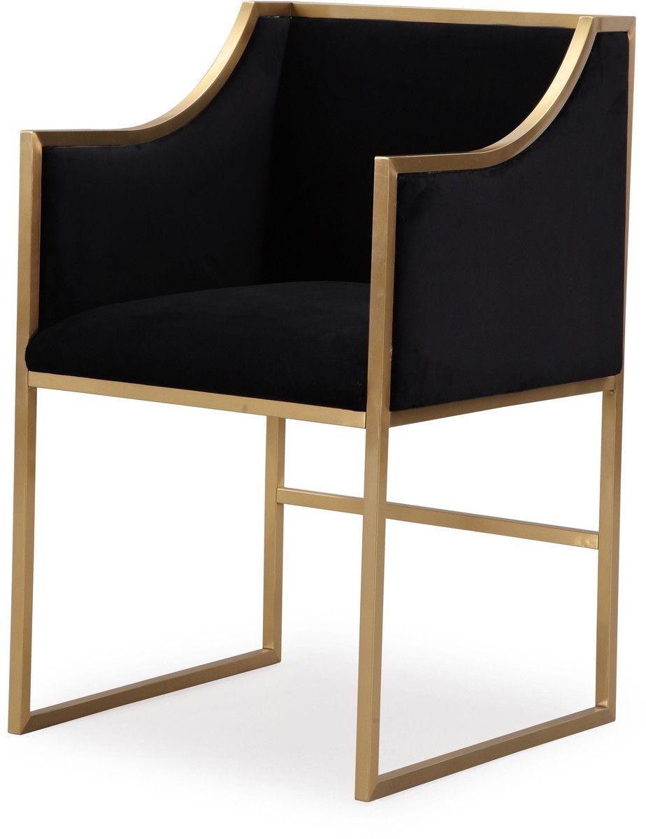 Atara Black Velvet Gold Chair Gold chair, Upholstered