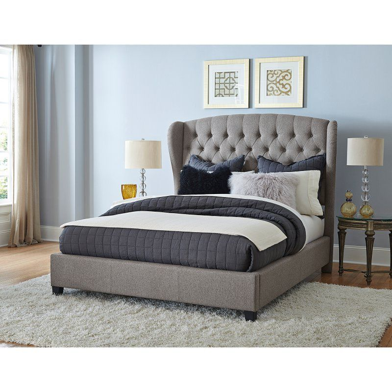 Hillsdale Bromley Wingback Upholstered Bed, Size Queen