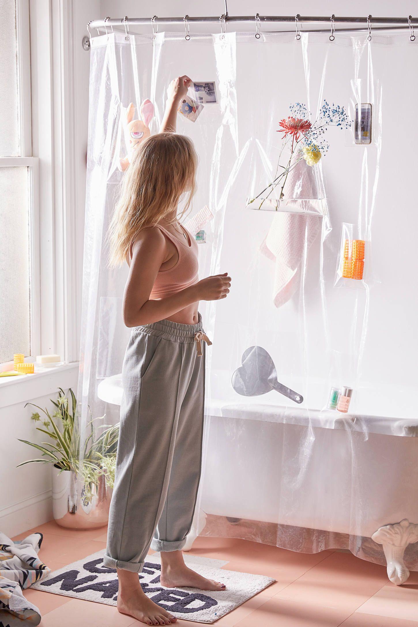 Clear Pocket Shower Curtain Liner Designer Shower Curtains