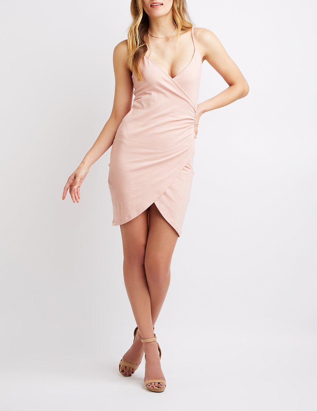 3f642e1a05a2 Ruched Bodycon Wrap Dress | Charlotte Russe | Cloth | Dresses, Wrap ...