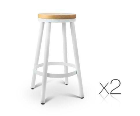 Lena Round White Steel And Wood Stackable Kitchen Stools Set Of 2 Bar Stools Steel Dining Chair Industrial Bar Stools
