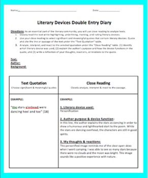 Use this template for any Double Entry Journal activities in your