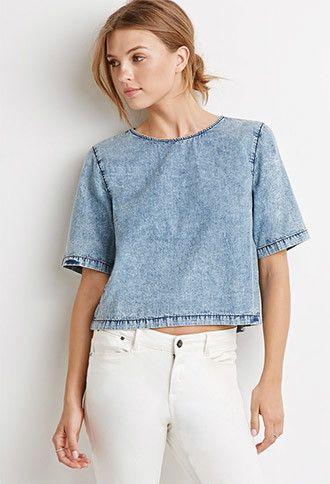 Blusa de manga corta de mezclilla  fd4372d2c12