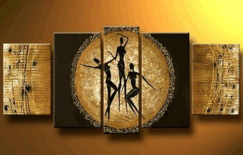 African Wall Decor 100% hand painted art african dancing figures large oil painting 5