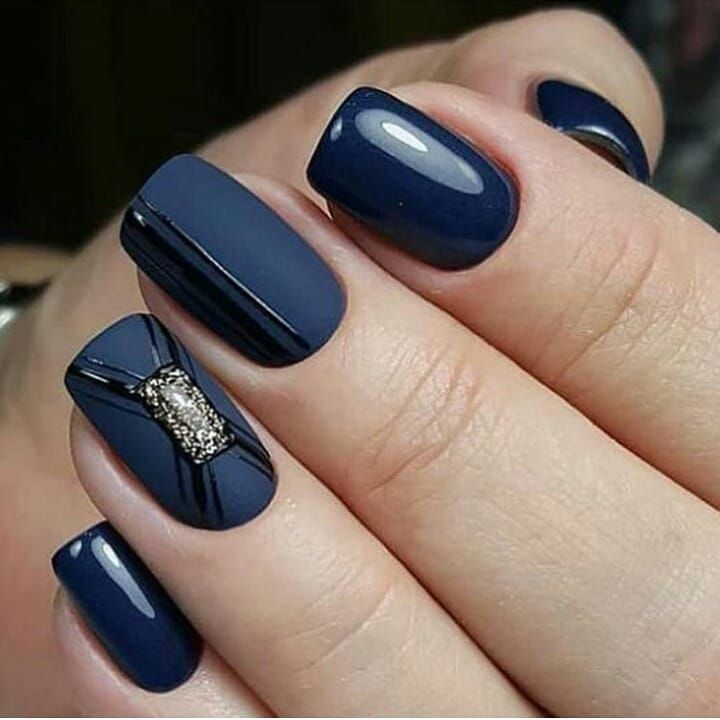Beautiful autumn nail art design to try this autumn - dark blue on long coffin nails , autumn nails ,teal nail colors, fall nails , nail polis,acrylic nail art
