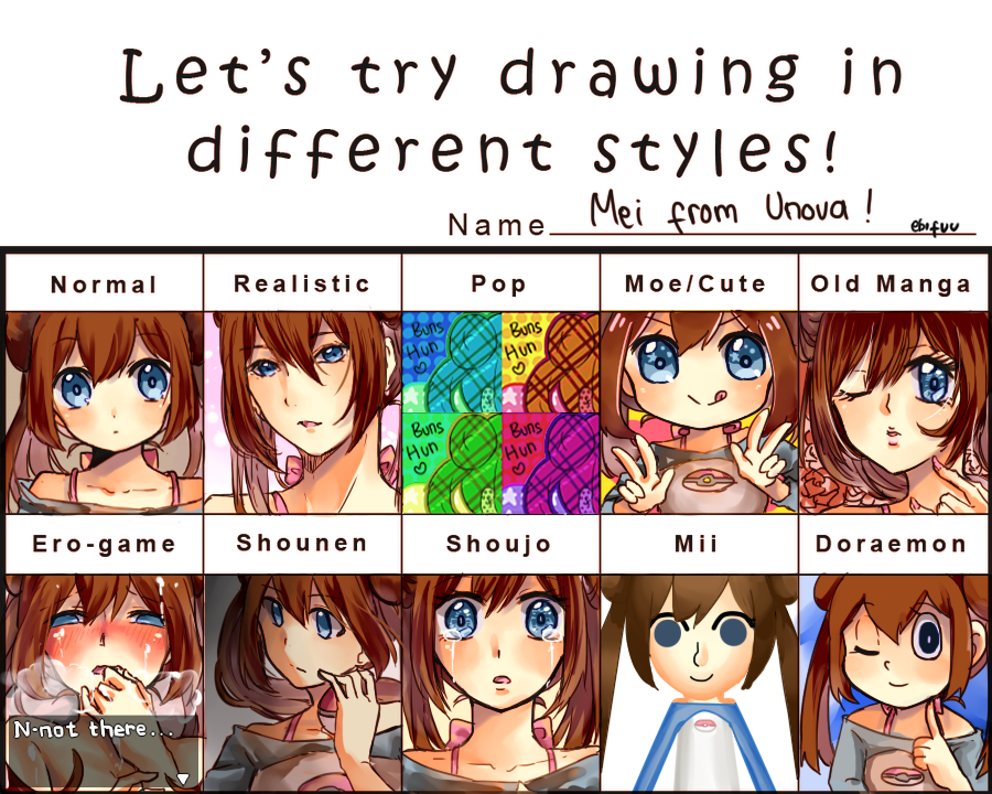 Let S Try Drawing In Different Styles Meme By Ebifuu Deviantart Com On Deviantart Different Drawing Styles Anime Drawing Styles Different Art Styles