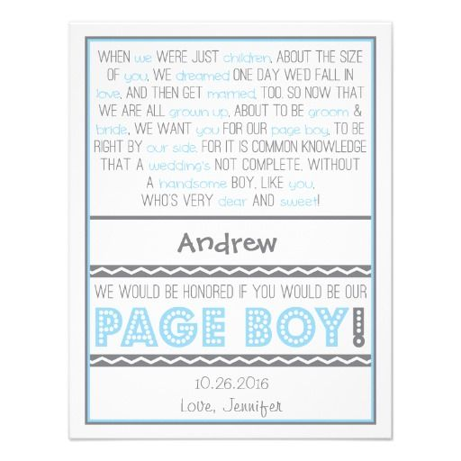 Will You Be My Page Boy Baby Blue Gray Poem Card Custom Announcements