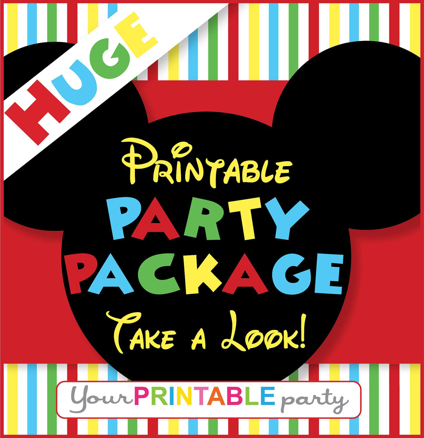 Mickey Mouse Party Package PERSONALIZED Printable