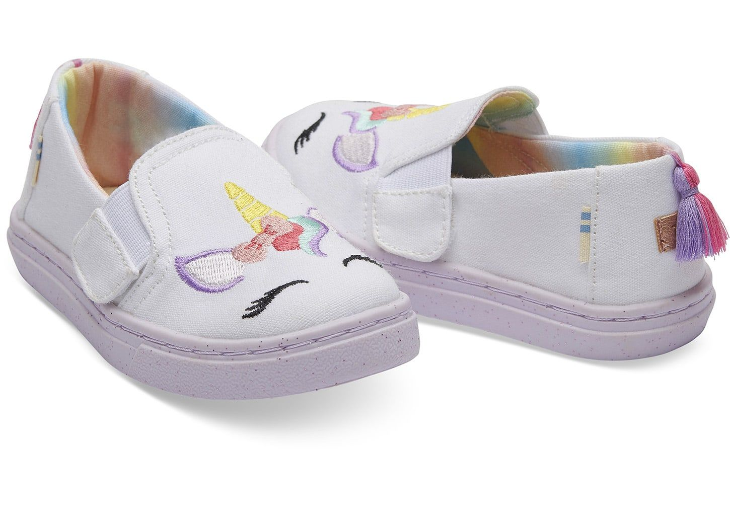 65b91787db5 Lilac Unicorn Face Canvas Tiny TOMS Luca Slip-Ons