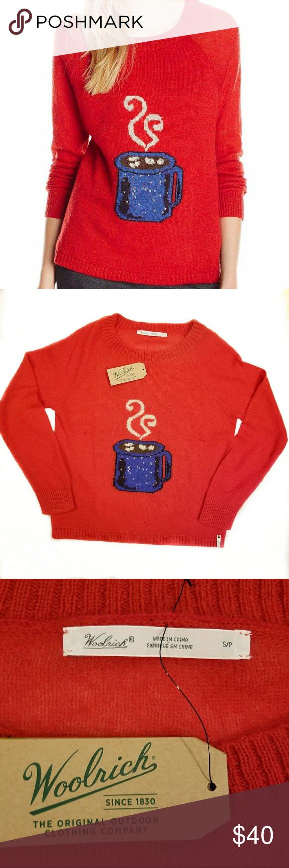 RARE Woolrich Coffee Mug Red Sweater Pretty mohair blend sweater ...