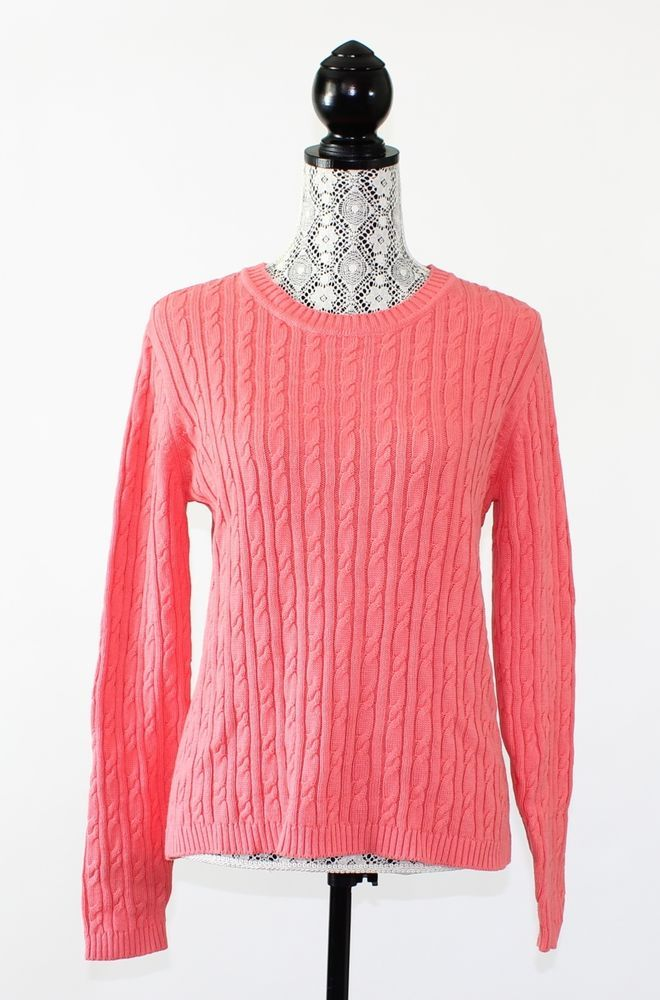 Karen Scott Womens Sweater Size M Orange Long Sleeve Crewneck Cable Knit Coral #KarenScott #Crewneck