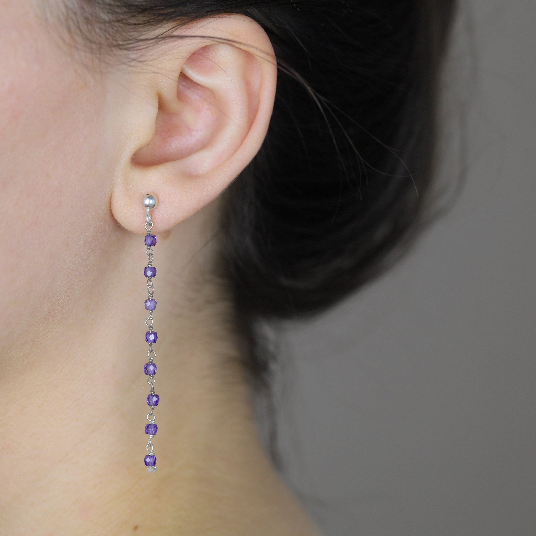 Sterling Silver Earrings handmade Purple CZ Earrings Silver Jewelry