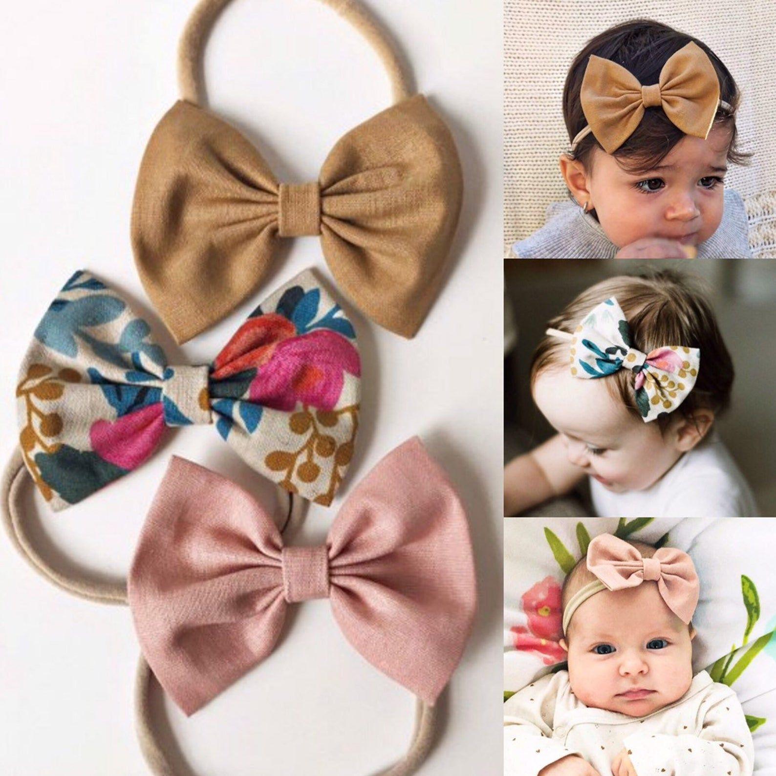 Baby Bow  Baby Headband  Nylon Headbands  Fabric Bow Headband  Fabric Bows  Hair Accessories  Rifle Paper Co Bow  Floral Bow