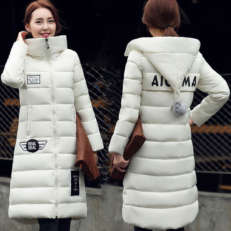Women Padded Jacket Winter Thicken Long Down Parka Plus Size Hooded