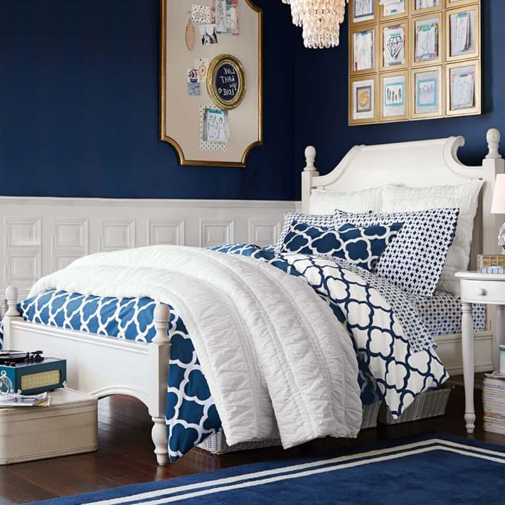 Cotton Navy And White Duvet Cover