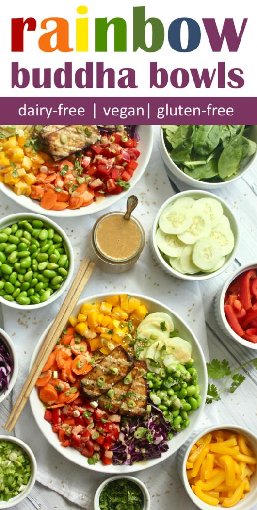 Crispy Tofu Rainbow Buddha Bowls Vegan Gluten Free