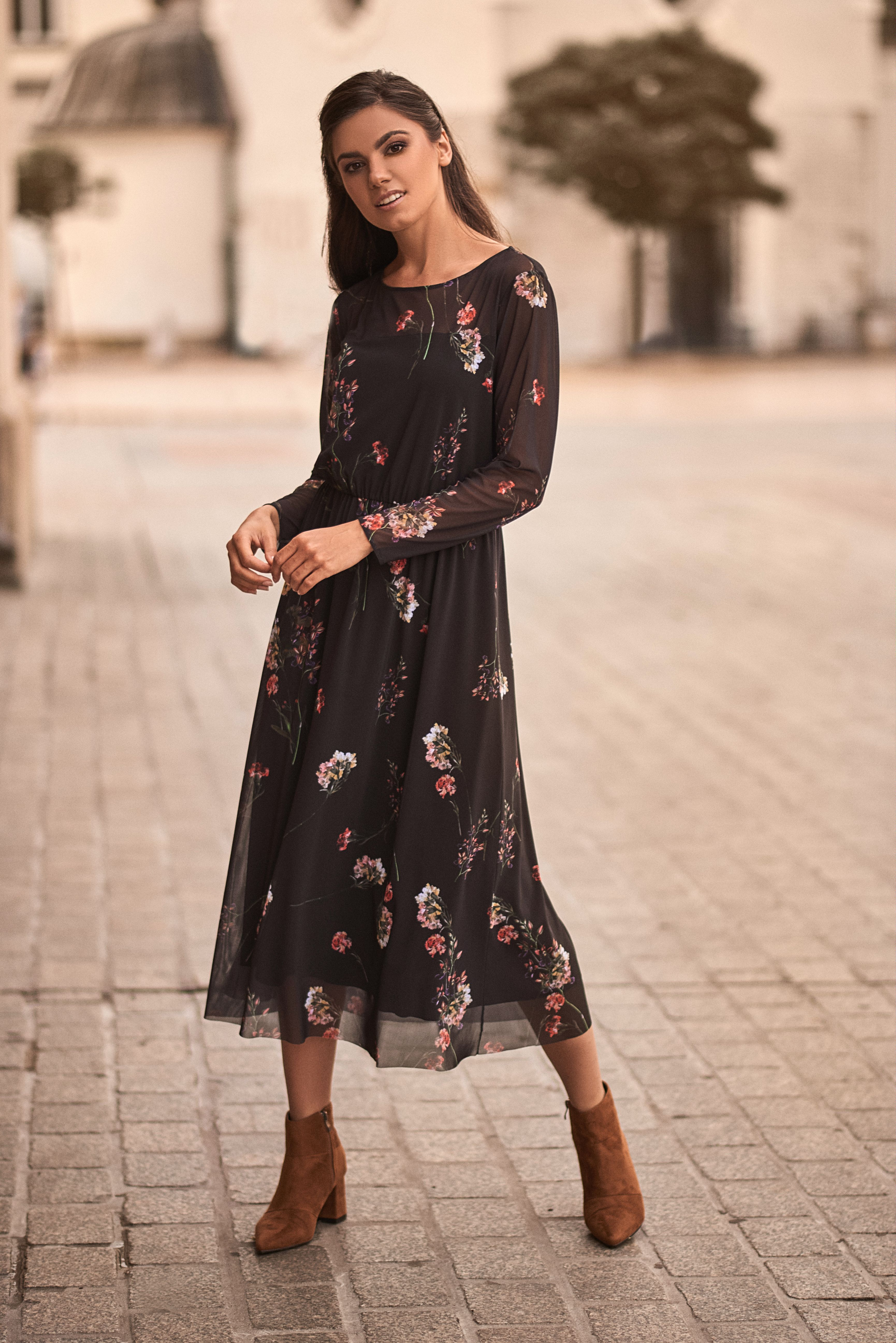 Sukienka Midi W Kwiaty Long Dress Long Sleeve Dress Dresses With Sleeves