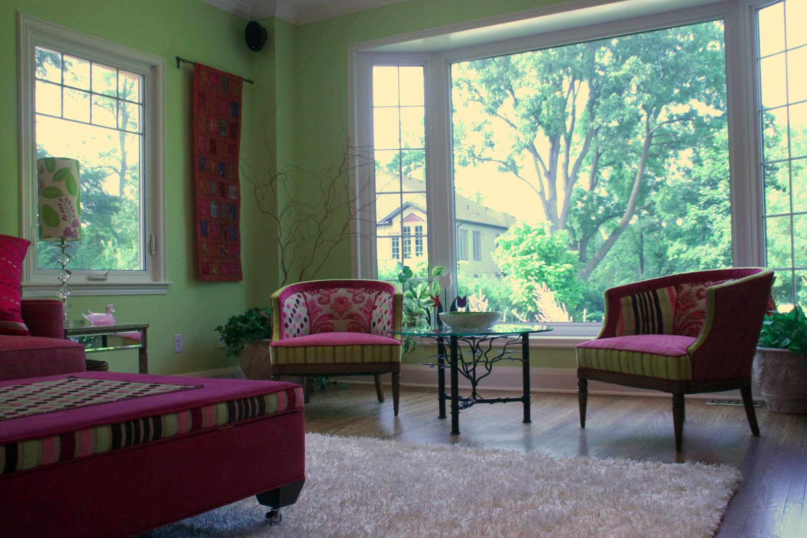 Clients home inspired by the Flirt palette and furnished with custom products Jane Hall Design