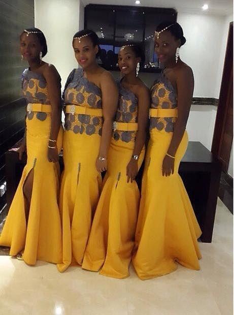 Nigeria Style Bridesmaid Dresses One Shoulder Sleeveless Mermaid ...