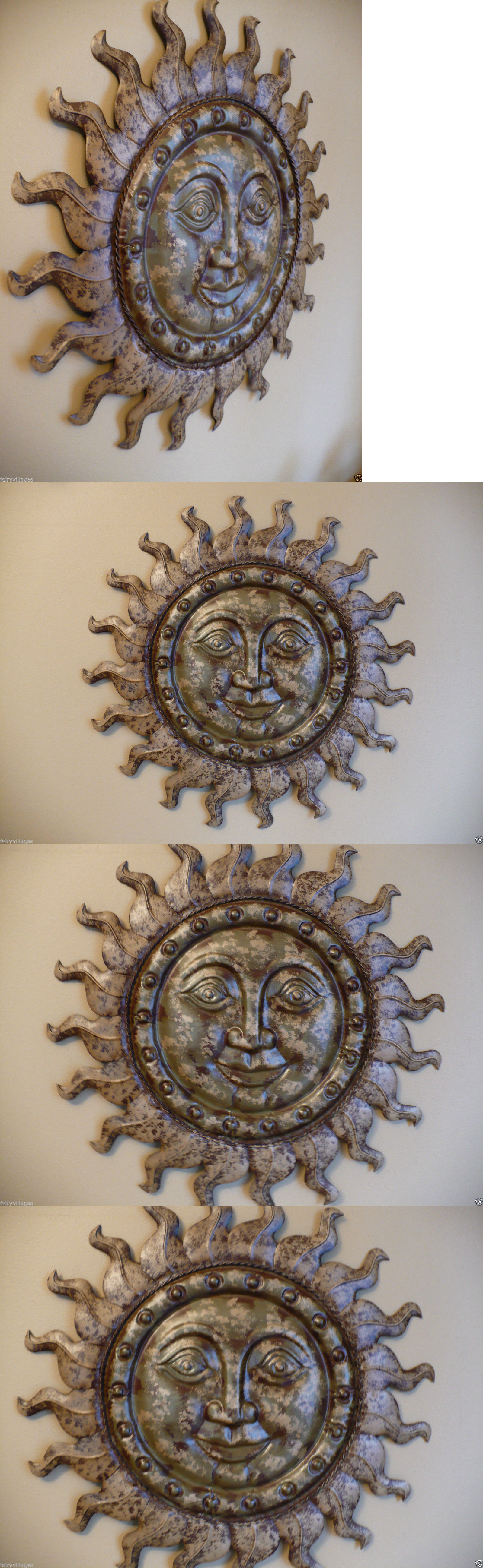 Garden wall art faces  Garden Plaques and Signs  Metal Sun Face Wall Plaque Art