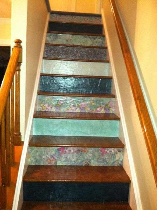 Who Knew Scrapbooking Paper Made Such A Great Stair Riser Covering! Phase 3  Complete.
