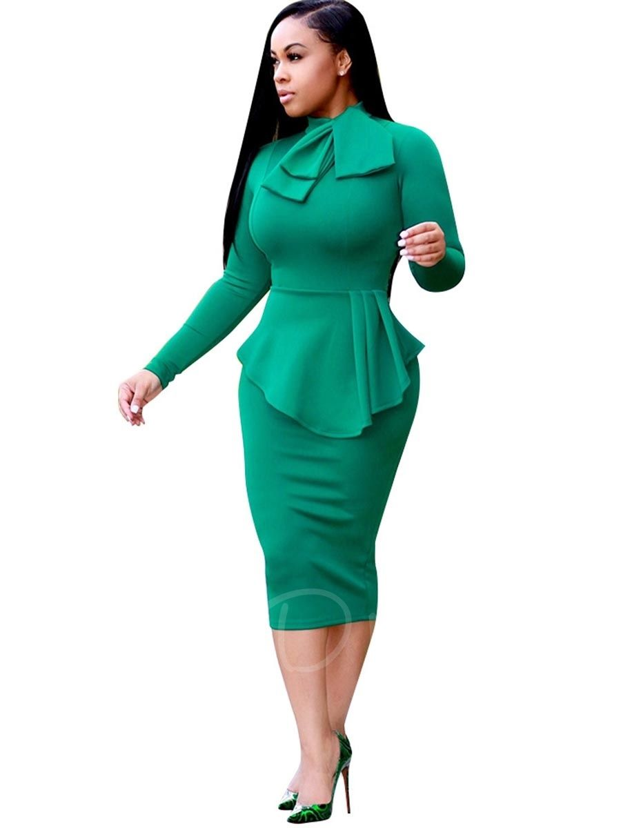 Double-Layered Tie Neck Plain Women\'s Bodycon Dress | Bodycon dress ...