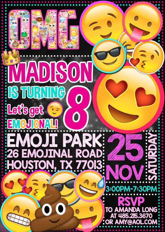 emoji invitation emoji icons chalkboard birthday party invite