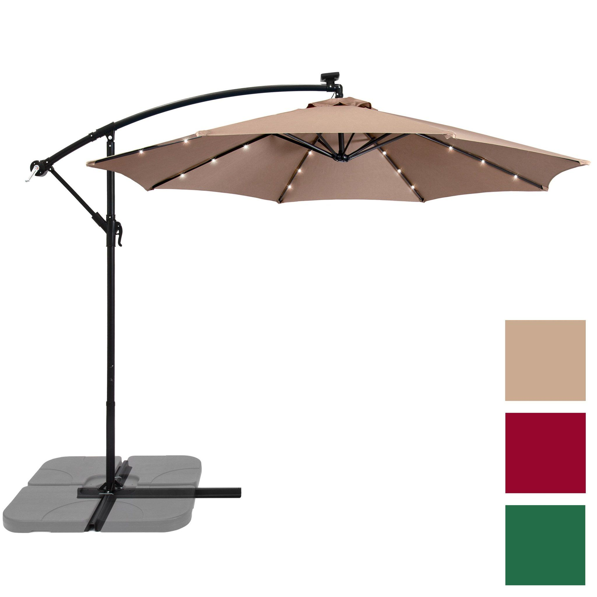 10 Solar Patio Offset Umbrella Tan Offset Umbrella Offset Patio Umbrella Solar Led