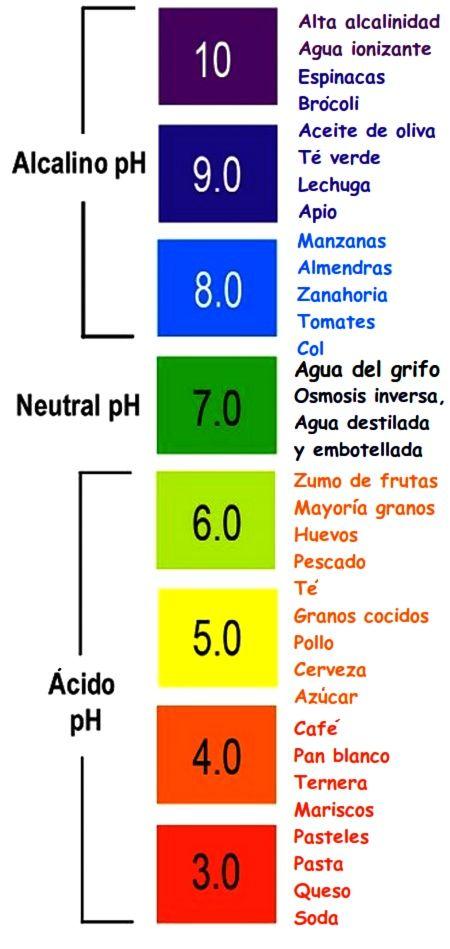 Esta imagen es de la escala de ph , mostrando cierto alimento que ...