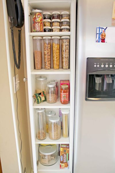 Narrow Cabinet Next To Fridge For Cereal Snacks Would Like This But Don T Think I Ve Got The E