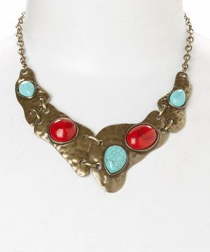 Loving this Gold & Coral Stone Hammered Bib Necklace on #zulily! #zulilyfinds $19.99