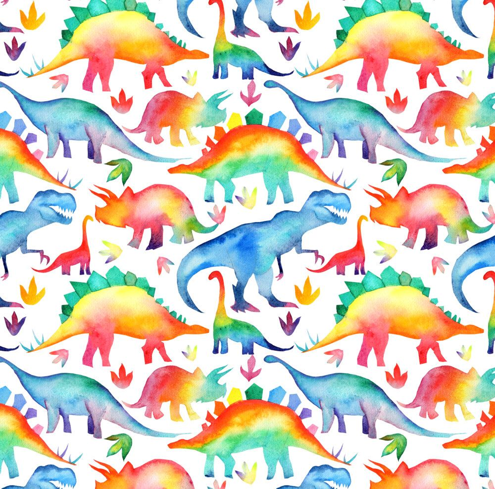 de34e57597ed0 Rainbow Dino Fabric - Rainbow Watercolour Dinosaurs - Larger Scale By  Emmaallardsmith - Nursery Cotton Fabric