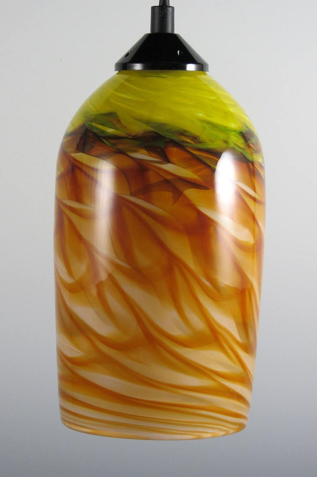 Amber and Yellow Optic Cylinder Pendant by Mark Rosenbaum Art Glass