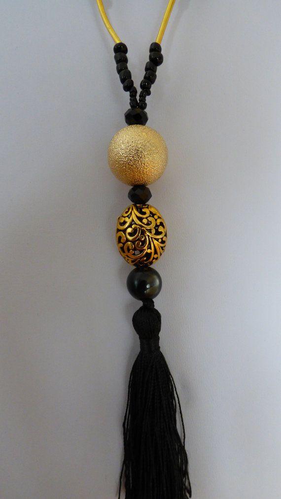 SAUTOIR Réveillon doré et noir  Made in FRANCE par LesArtsdeSylvie
