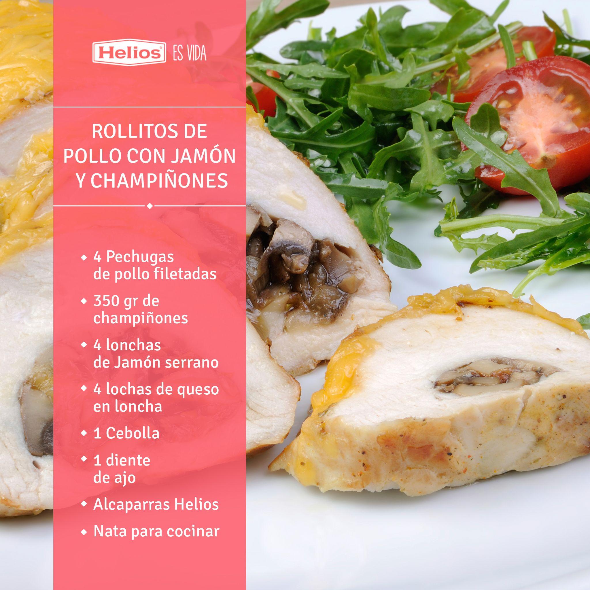 Rollitos De Pollo Con Jamón Y Champiñones Rollitos De Pollo Recetas De Comida Pollo