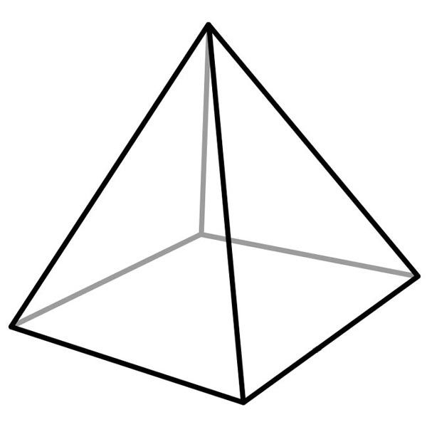 This picture features a square pyramid. A square pyramid