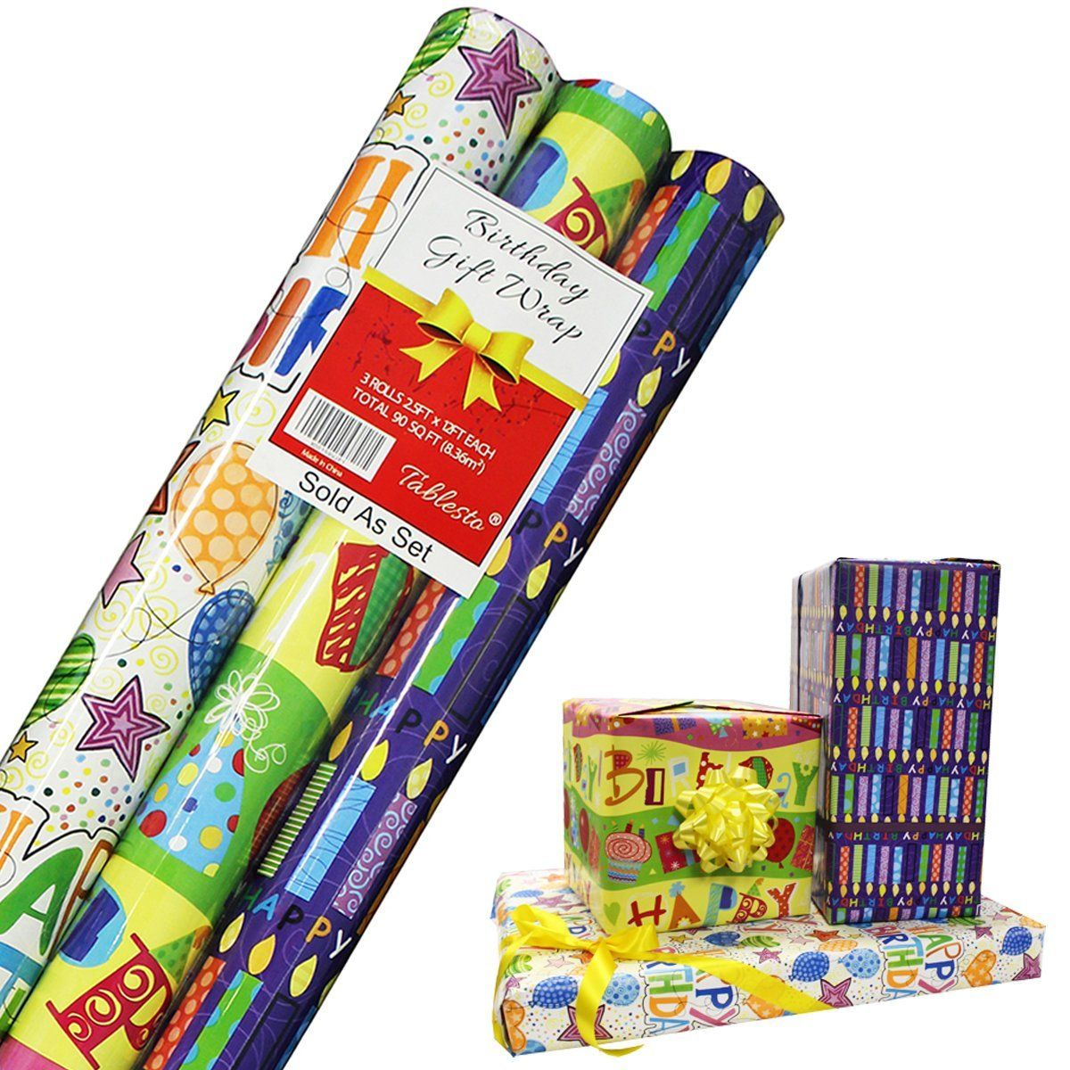 Birthday Wrapping Paper Gift Wrap In 3 Bright Styles 2 5 Ft X 12 Ft In Each Roll Birthday Gift Wrapping Birthday Wrapping Paper Happy Birthday Gifts