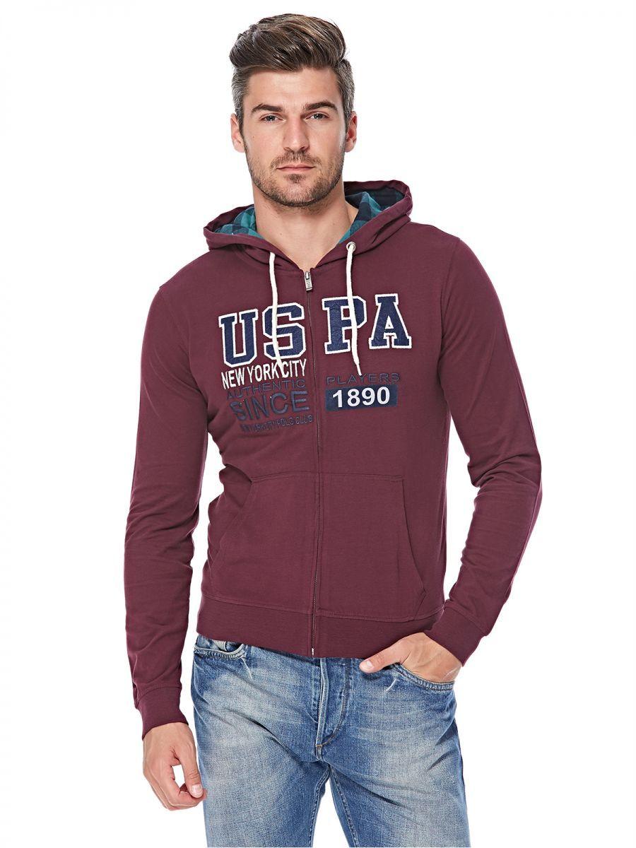 U.S. Polo Assn. Zip Up Hoodie for Men Wine Hoodies