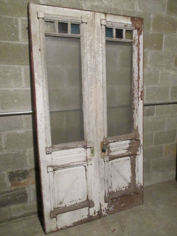Antique Double Entrance French Doors With Stained Glass 48 X 85