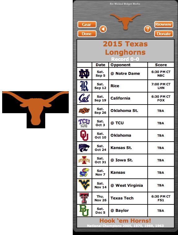 Free 2015 Texas Longhorns Football Schedule Widget Hook